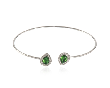 Cachet Swarovski Crystal  Tamsin Spring Bangle Rhodium Fern Green
