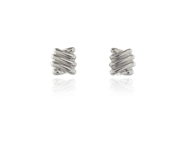 polished Ece Clip Earrings Rhodium