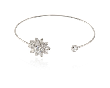 Cachet Swarovski Crystal  Dania Spring Bangle Rhodium